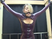 Latex Dress Belt Bound on Sybian