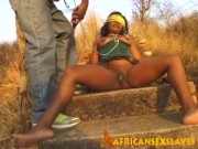 Horny African slave enjoys being abused outdoors