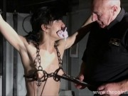 Electro bdsm and feet punishment of slave Elise Graves in dungeon tit tortu