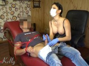BIG BOOB DENTIST HANDJOB WITH SURGICAL MASK AND GLOVES