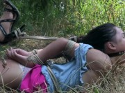 Asian teen bound and gagged made to orgasm!