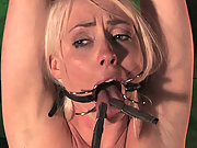 Blond captured in basement, bound and made to cum