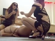 Chinese double femdom handjob amaszing handjob cumshot