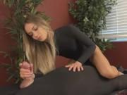 Blonde Mistress teases and edges bound slave