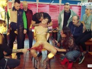 ForBondage - Slutty Brunette Teen Abused at Party In a Restaurant