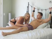 Horny blonde fucks bound guy and makes him come 3 times in her pussy